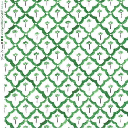 Linen fabric printed with a hand painted scalloped diamond design repeat pattern in bright green on white background