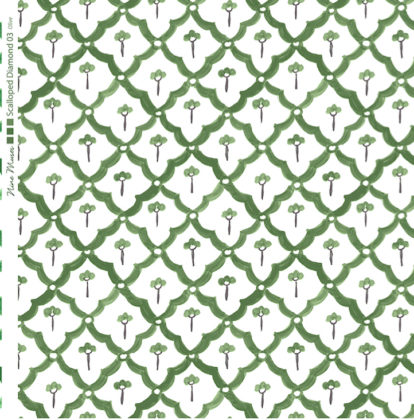 Linen fabric printed with a hand painted scalloped diamond design repeat pattern in olive green on white background