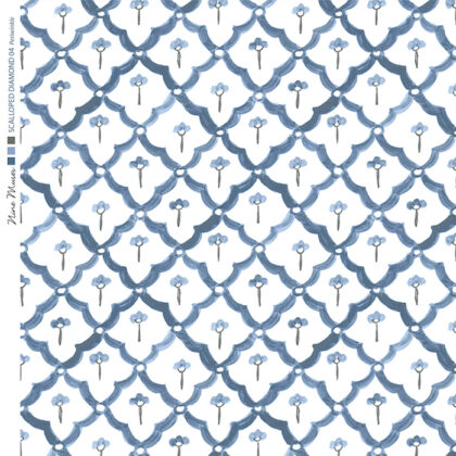 Linen fabric printed with a hand painted scalloped diamond design repeat pattern in periwinkle blue on white background