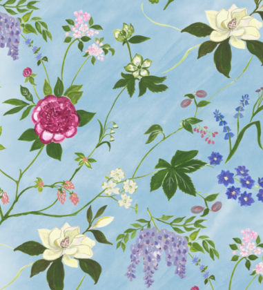Linen fabric printed with a hand painted large floral design repeat pattern on aqua blue background