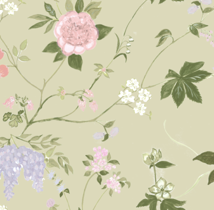 Linen fabric printed with a hand painted large floral design repeat pattern on sage green background