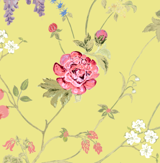 Linen fabric printed with delicate coloured floral design on chartreuse yellow green background
