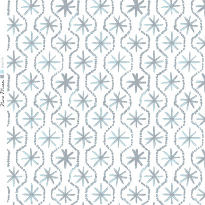 Linen fabric printed in hand painted design repeat pattern of star stitch detail in pale ice grey on white background
