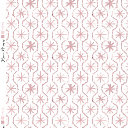 Linen fabric printed in hand painted design repeat pattern of star stitch detail in pale blush pink on white background