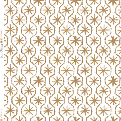 Linen fabric printed in hand painted design repeat pattern of star stitch detail in cardamom brown on white background