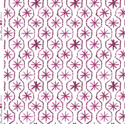 Linen fabric printed in hand painted design repeat pattern of star stitch detail in deep pink purple on white background