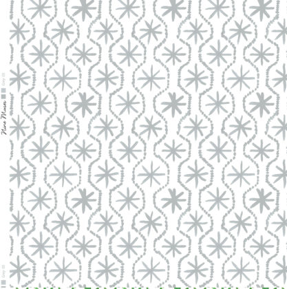 Linen fabric printed in hand painted design repeat pattern of star stitch detail in grey on white background