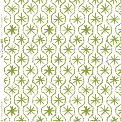 Linen fabric printed in hand painted design repeat pattern of star stitch detail in olive green on white background