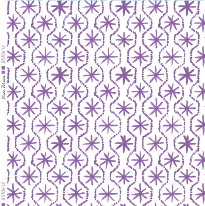 Linen fabric printed in hand painted design repeat pattern of star stitch detail in purple on white background