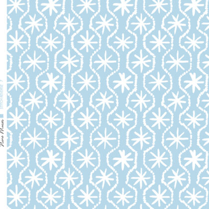 Linen fabric printed in hand painted design repeat pattern of star stitch detail in white on pale aqua blue background
