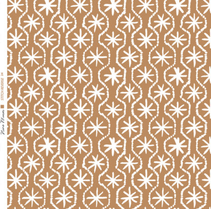 Linen fabric printed in hand painted design repeat pattern of star stitch detail in white on cardamom brown background