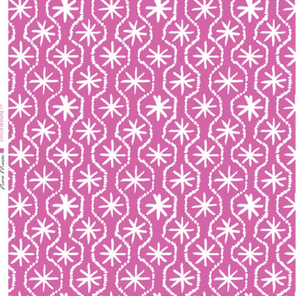 Linen fabric printed in hand painted design repeat pattern of star stitch detail in white on bright pink background