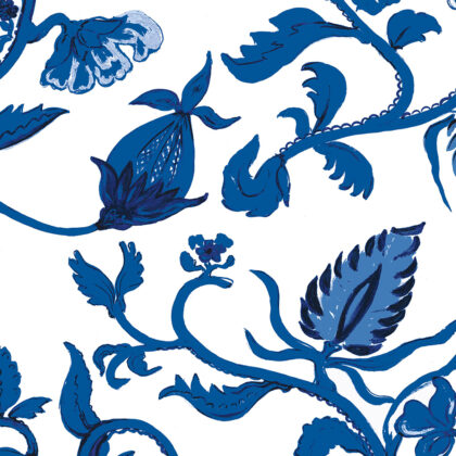Linen fabric printed with hand painted free botanical design in indigo blue on white background