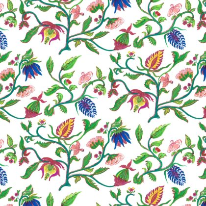 Linen fabric printed with hand painted free botanical design in multicolour on white background