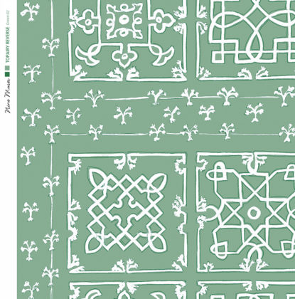 Linen fabric printed with traditional decorative square design like a garden plan repeat pattern in white on green background