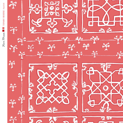 Linen fabric printed with traditional decorative square design like a garden plan repeat pattern in white on red peach background