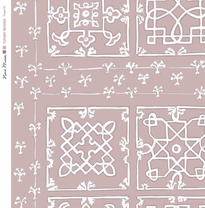 Linen fabric printed with traditional decorative square design like a garden plan repeat pattern in white on taupe background