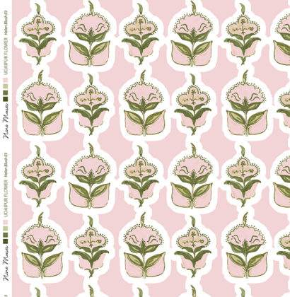 Linen fabric printed with hand painted floral design repeat pattern in pink and green on pale blush pink background