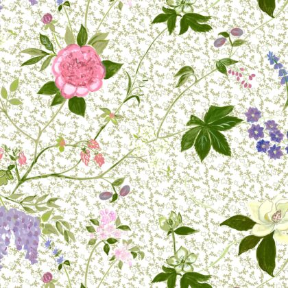 Linen fabric printed with a hand painted large floral design repeat pattern on pale sage green inprinine background