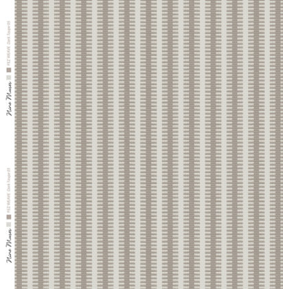 Linen fabric woven with a striped repeat pattern in two shades of dark taupe with darker background and a lighter contrast stripe
