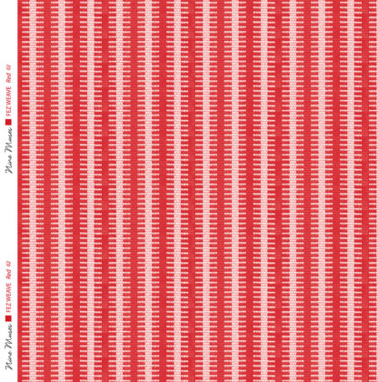 Linen fabric woven with a striped repeat pattern in two shades of red with darker background and a lighter contrast stripe