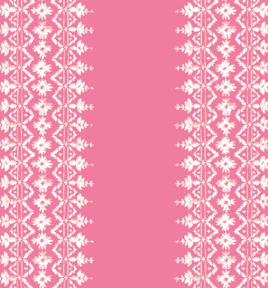 Linen fabric printed with repeat stripe pattern in stitch weave design in pinks