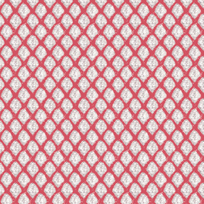 Linen fabric printed in small repeat pattern of traditional diamond design in cinnamon red