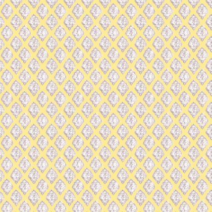 Linen fabric with large repeated printed design of neutral decorative diamond on colourful background