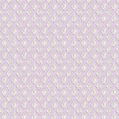 Linen fabric printed with repeat diamond pattern in traditional design in lilac pink