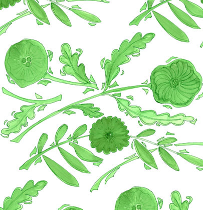 Linen fabric printed with a delicate hand painted design in a floral and leaf repeat pattern in green on white background