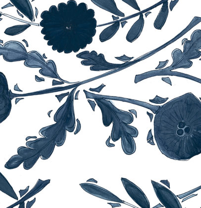 Linen fabric printed with a delicate hand painted design in a floral and leaf repeat pattern in navy indigo blue on white background