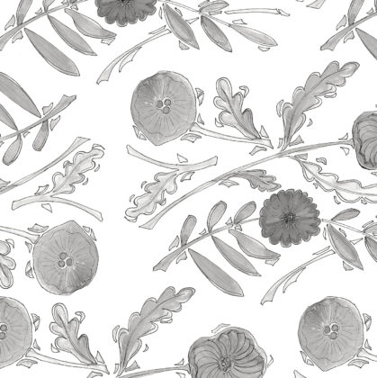 Linen fabric printed with a delicate hand painted design in a floral and leaf repeat pattern in grey on white background