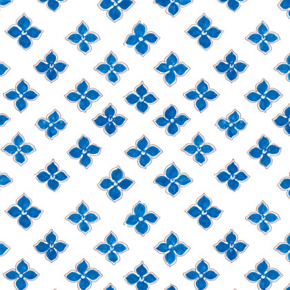 Linen fabric printed with a small repeat design of delicate floral petal pattern in blue on white background