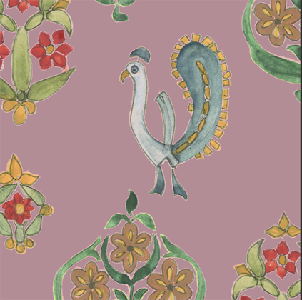 Linen fabric with large repeated printed design of peacock bird and flowers on colourful background