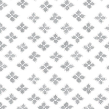 Linen fabric printed with a small repeat design of delicate floral petal pattern in grey on white background