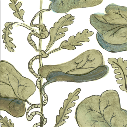 Linen fabric printed with hand painted botanical design of vine in olive green on white background