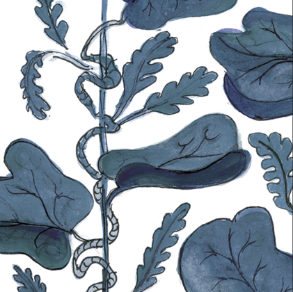 Linen fabric printed with hand painted botanical design of vine in indigo blue on white background