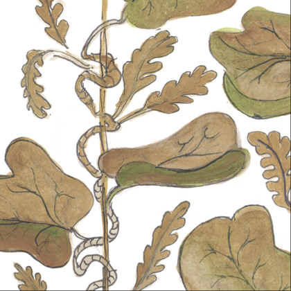 Linen fabric printed with hand painted botanical design of vine in caramel on white background