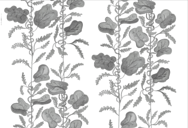 Linen fabric printed with hand painted botanical design of vine in grey on white background full pattern repeat