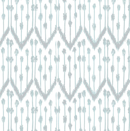 Linen fabric printed with a traditional delicate ikat repeat design with a duckegg green blue pattern on green background