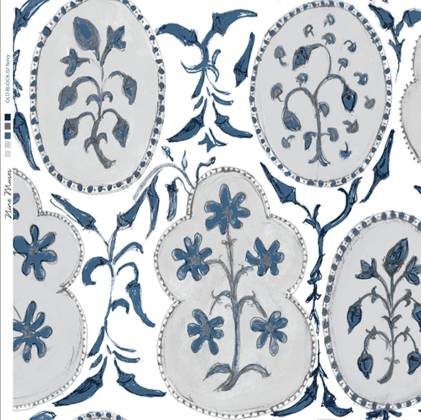Linen fabric printed with a hand painted free floral design repeat pattern in indigo blue and blue grey on white background
