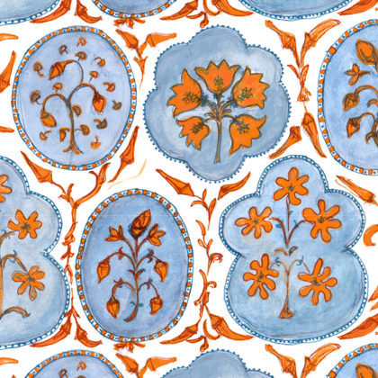 Linen fabric printed with a hand painted free floral design repeat pattern in orange and blue on white background