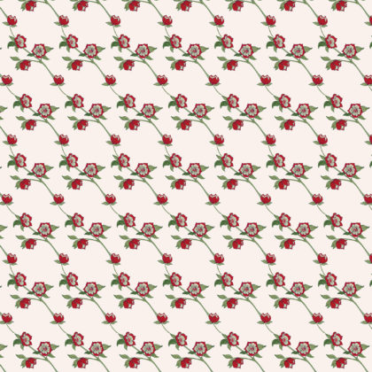 Linen fabric with a small floral repeat design printed
