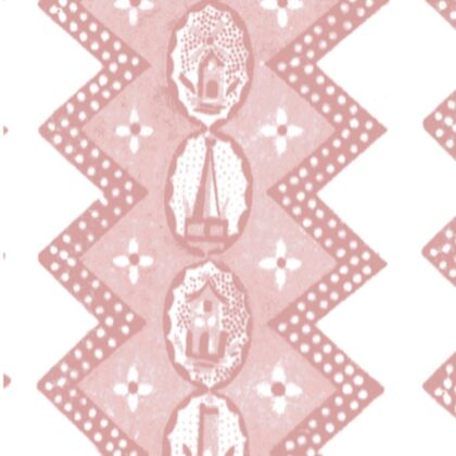 Linen fabric printed with zigzag design repeat pattern with scenic detail in clay pink on white background