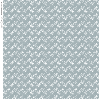 Linen fabric with a small leaf-like pattern repeat printed