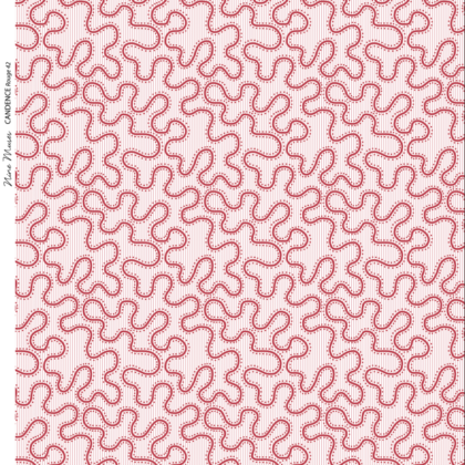 Linen fabric with small repeated printed design of wiggly line pattern on colourful background