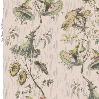 Linen fabric with large repeated printed floral design pattern on cream background