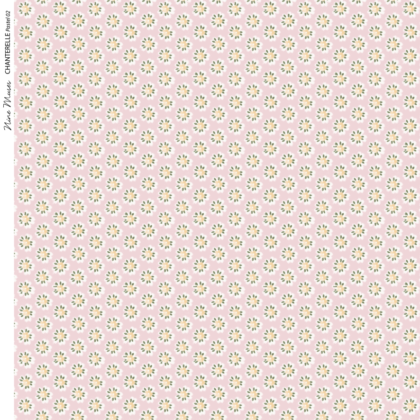 Linen fabric with small repeated printed floral style design on colourful background