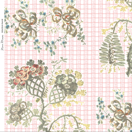 Linen fabric printed with a design in a delicate floral repeated pattern on a plain background