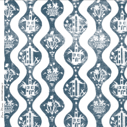 Linen fabric with large repeated printed design with a floral and simple building on plain background